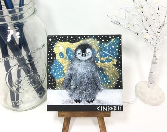 Baby Penguin, Miniature Original Mixed Media canvas Painting, 4 x 4 inches with wooden mini easel, Penguin Snow Painting, Acrylic Painting