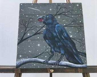 Raven Original Painting, Raven with Heart, Wood Plank, Raven Art, Black Bird Painting, Crow, Acrylic Raven Painting, Bird Art, Stars, Trees