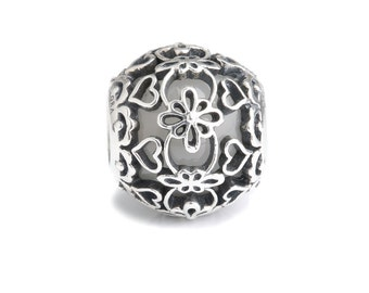 White Murano Glass & Sterling Silver Lace Charm S925, Vintage Ivory wedding Lace Silver Charm Bead pendant, Lace Bridal Wedding Boho Jewelry
