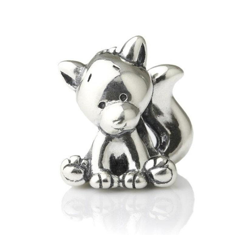 cadb19d13 Smarty Fox Sterling Silver Charm Bead S925 Cute Fox Silver | Etsy
