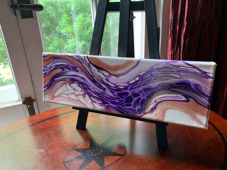 Abstract Painting Purple in Motion Fluid Acrylic Pour Art 4 x 12 Wall Hanging The Painted Dreamer Fluid Acrylic Pour Painting