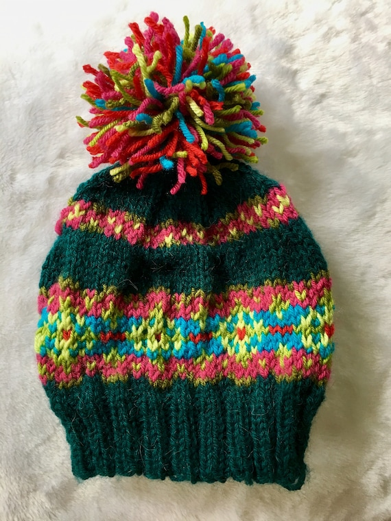 0594c27ea02 BRIGHT Colorful FAIR ISLE hat teal red hot pink