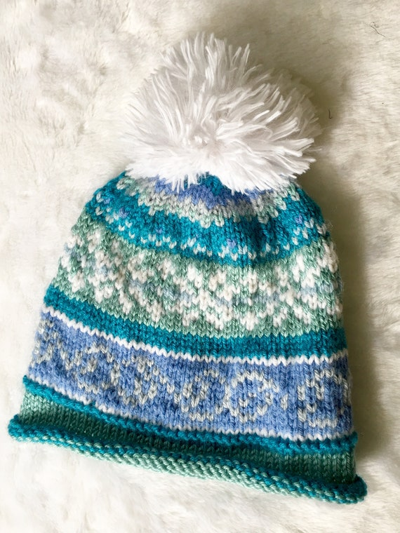 ad29a3e33a8 HAT with YOUR NAME personalized fair isle snowflake motif