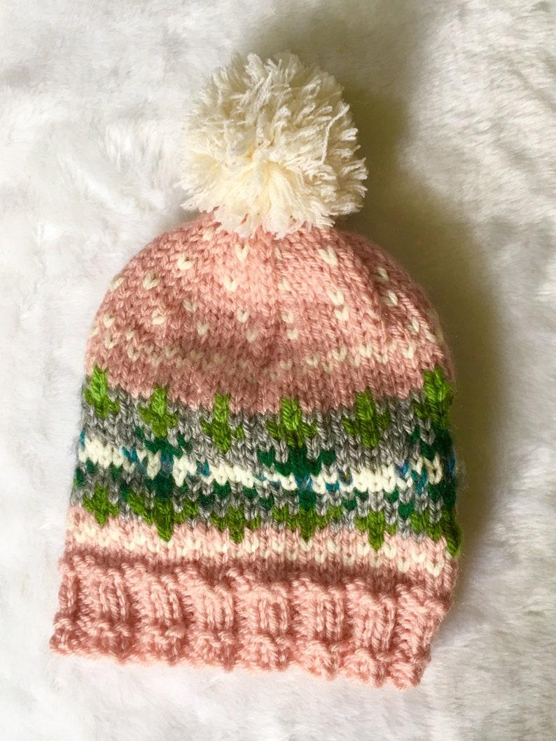 3cc305f349a Baby GIRLS PINK fair isle pompom hat pine tree motif pink