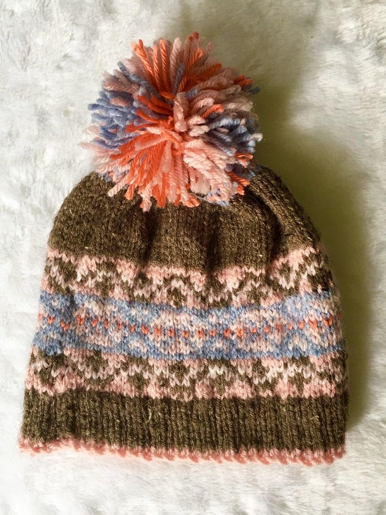 1e965d3d6a1 Rustic FAIR ISLE HAT pompom beanie hand knit nordic ski