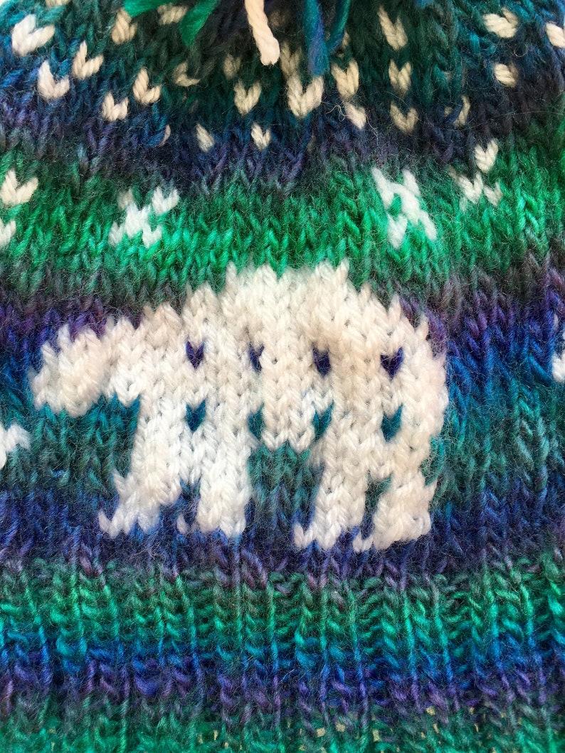 blue violet ski hat white nordic style original design cozy green loopsnswoops POLAR BEAR motif fair isle hat pompom soft blue