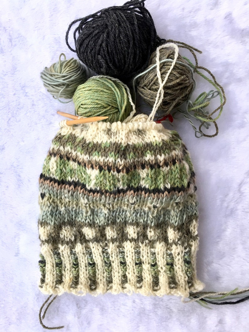 vintage style  pom pom beanie loopsnswoops unisex winter hat,nordic ski hat greens,grays and gream rustic style WOOL FAIR ISLE hat