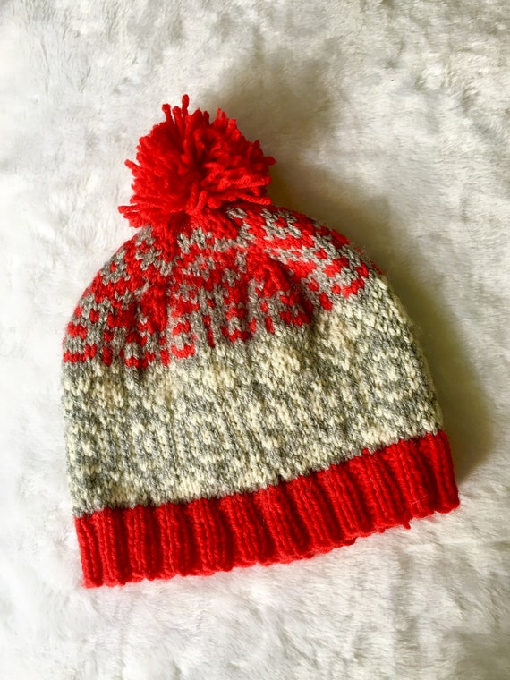 01f14b38610 UNISEX FAIR ISLE Hat Red and Grey hand knit hatAdult pom pom