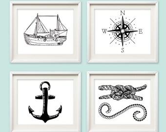 Nautical wall art - nautical nursery art - wall art - Nursery Decor - black ship art - nautical wall prints - anchor - nautical silhoutte