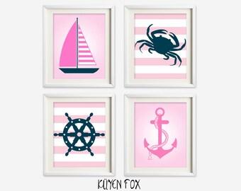 Pink nautical wall art - girl nautical nursery art - kids wall art - Nursery Decor - nautical bedroom decor - nautical wall prints - anchor