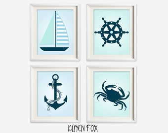 Blue nautical wall art - boy nautical nursery art - kids wall art - Nursery Decor - nautical bedroom decor - nautical wall prints - anchor