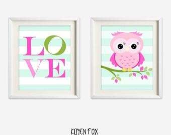 Pink owl wall art - green owl nursery art - kids wall art - Nursery Decor - pink green owl - girl owl nursery art - owl wall decor