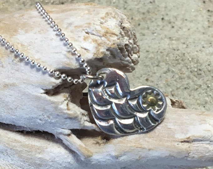 Fine Silver (.99%) Heart Pendant/Necklace with Antiqued Waves and Plated 22k Gold Sun on SS Ball Chain