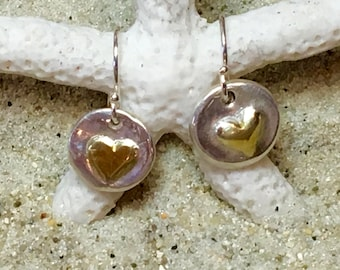 Sterling and Fine Silver with 22K Gold Plated Heart Coin Earrings