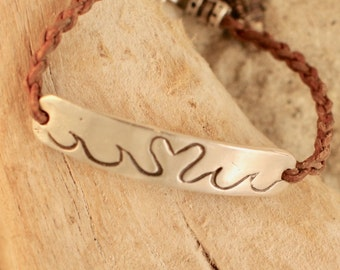 """Fine Silver Bar Heart and Wave 7"""" Leather Bracelet with Heart Toggle"""