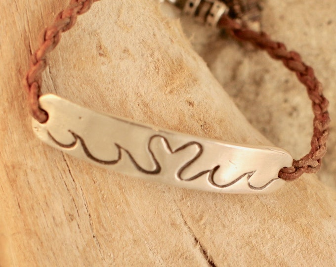 "Fine Silver Bar Heart and Wave 7"" Leather Bracelet with Heart Toggle"
