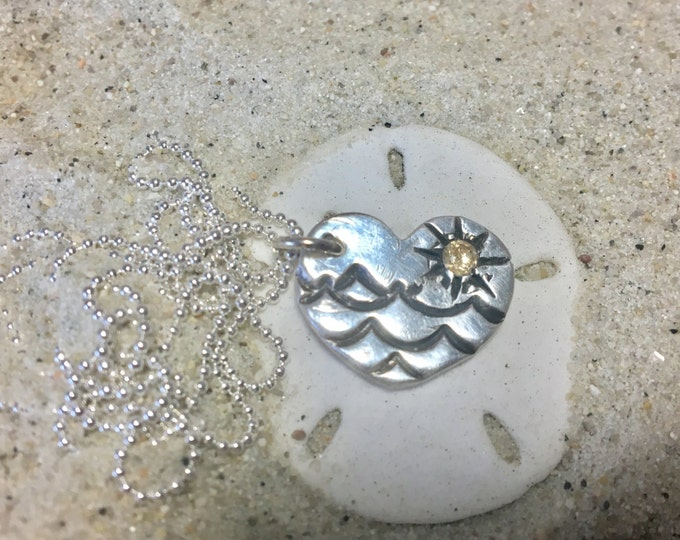 "Fine Silver (.99%) Heart Pendant with Antiqued Waves and 3mm Gold CZ Sun. Sterling 16"" 18"" or 20"" Chain"