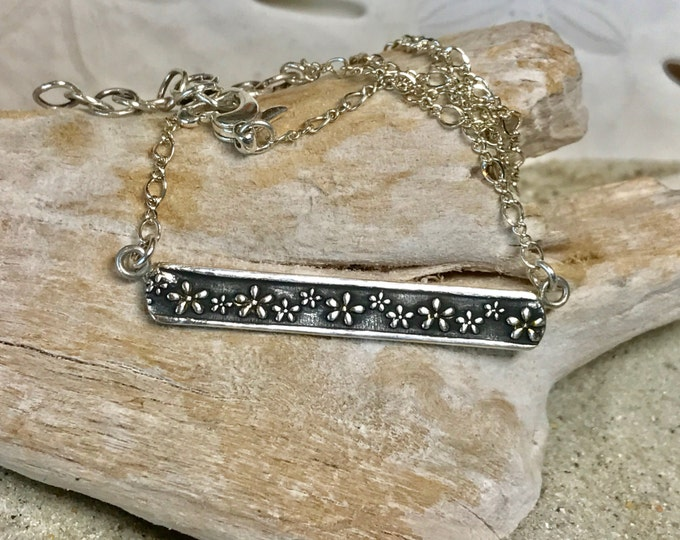 Fine Silver Bar Floral Necklace with Sterling Chain and Raised Flowers