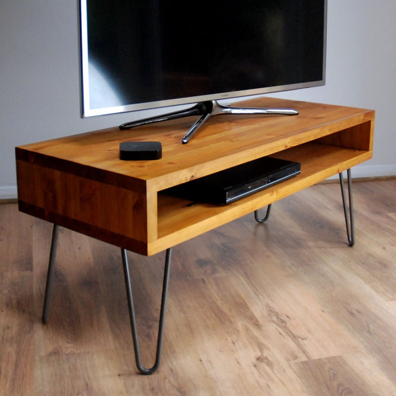 Vintage Retro Box Tv Stand W Metal Hairpin Legs Solid Wood Light Oak Medium Wood Finish