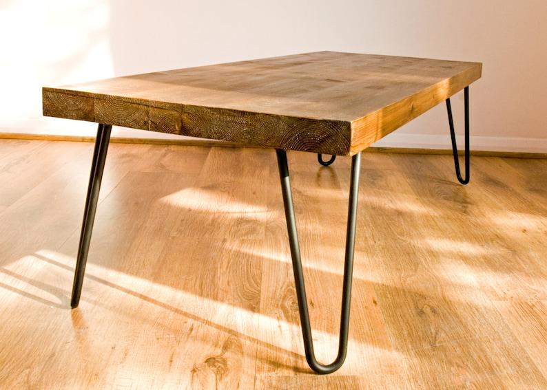 Rustic Vintage Industrial Solid Wood Coffee Table Black Metal Etsy