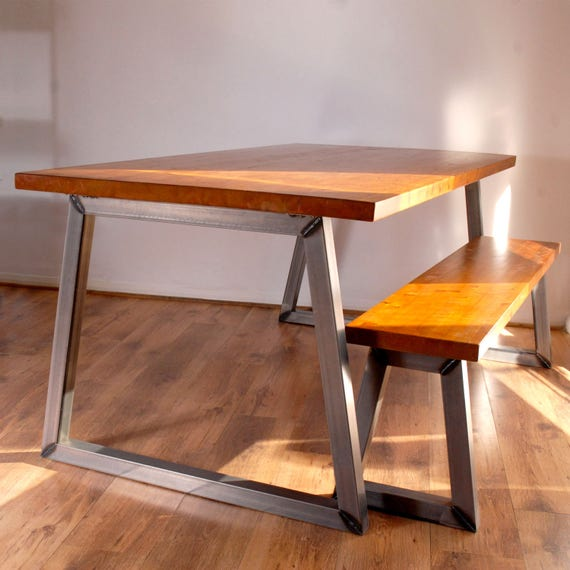 Solid Wood Kitchen Table With Bench: Industrial Vintage Dining Kitchen Table Bench Set. Solid