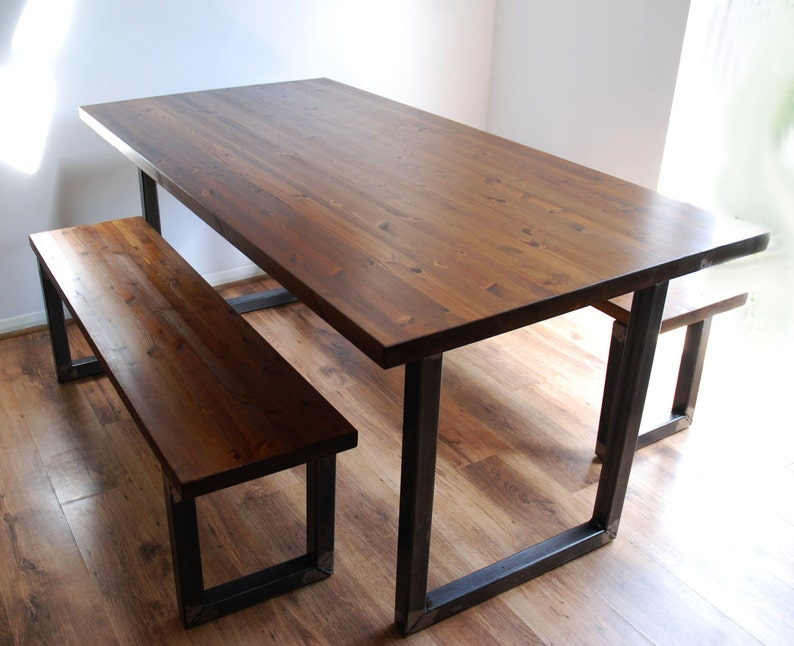 Vintage Industrial Dining Kitchen Table and Bench Set - Modern Rustic Chic