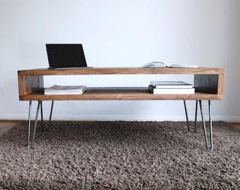 Vintage Retro Box Dark Wood Coffee Table with Metal Hairpin Legs - Solid Wood, Rustic