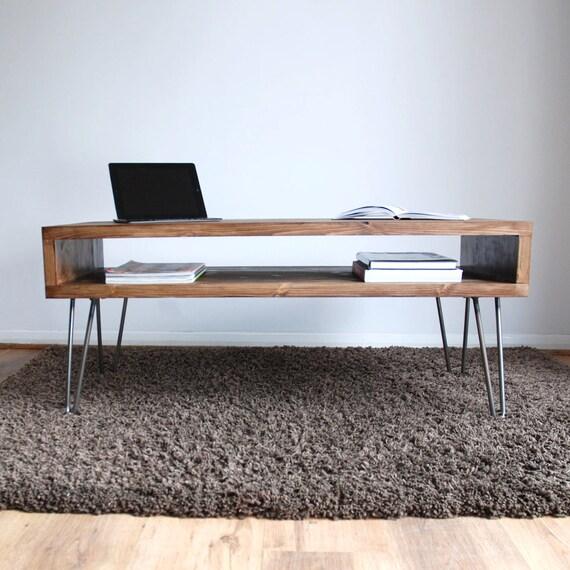 Surprising Vintage Retro Box Dark Wood Coffee Table With Metal Hairpin Legs Solid Wood Rustic Evergreenethics Interior Chair Design Evergreenethicsorg