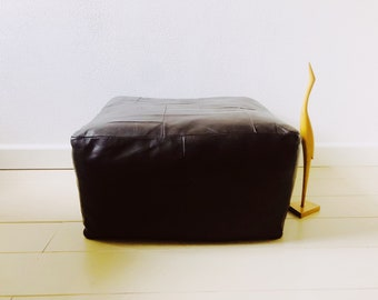 Dark brown vintage leather pouf square, 60s-70s