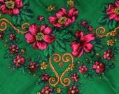 Soviet shawl. Soviet green scarf. Cotton Polyester shawl. Ukrainian style. Head Scarf with flowers. Vintage USSR. green scarf with flowers.