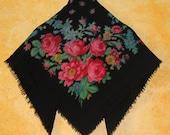 Soviet Wool scarf. Ukrainian shawl. Wool. Flower scarf. Black roses. USSR. Vintage 80 39 s. babushka