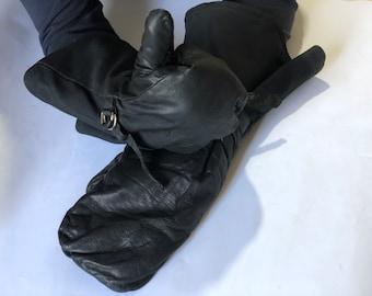 Soviet winter aviator gloves , Vintage military gloves , Vintage motorcycle gloves , Pilot gloves , leather aviation gloves. Military gloves