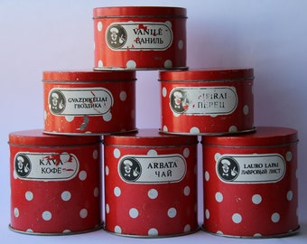 Soviet Tin Box. Set of 6.  Soviet vintage tin food containers. Red. Polka Dot. Food box. Kitchen set.