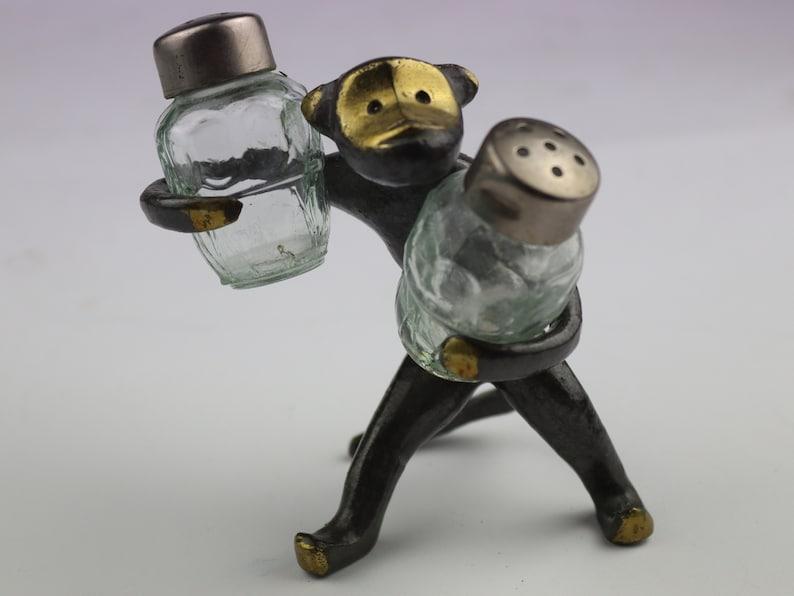 salt Set for salt and pepper monkey vintage set for spices pepper Bronze monkey for spices metal set monkey figurine.spice
