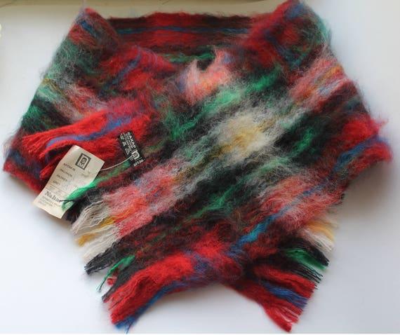 NOS. Vintage mohair scarf, vintage mohair wool muf