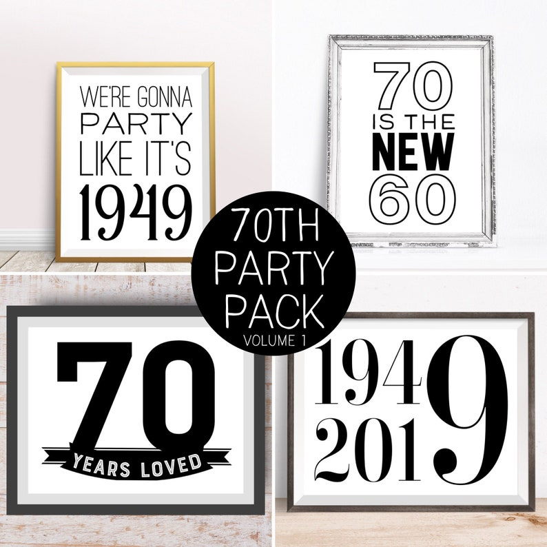 Digital Prints 70th Birthday Party Decorations