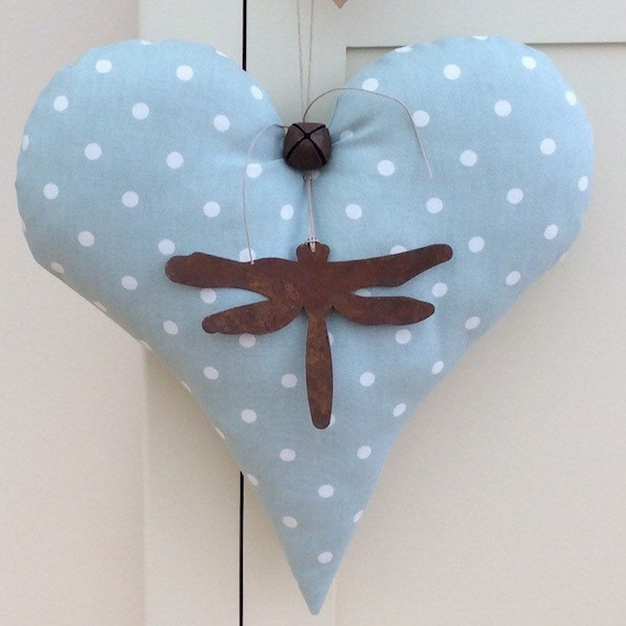 Home, Furniture & DIY 2 HEARTS FABRIC HANGING HEARTS Laura Ashley DUCK EGG GINGHAM new MORE HEARTS