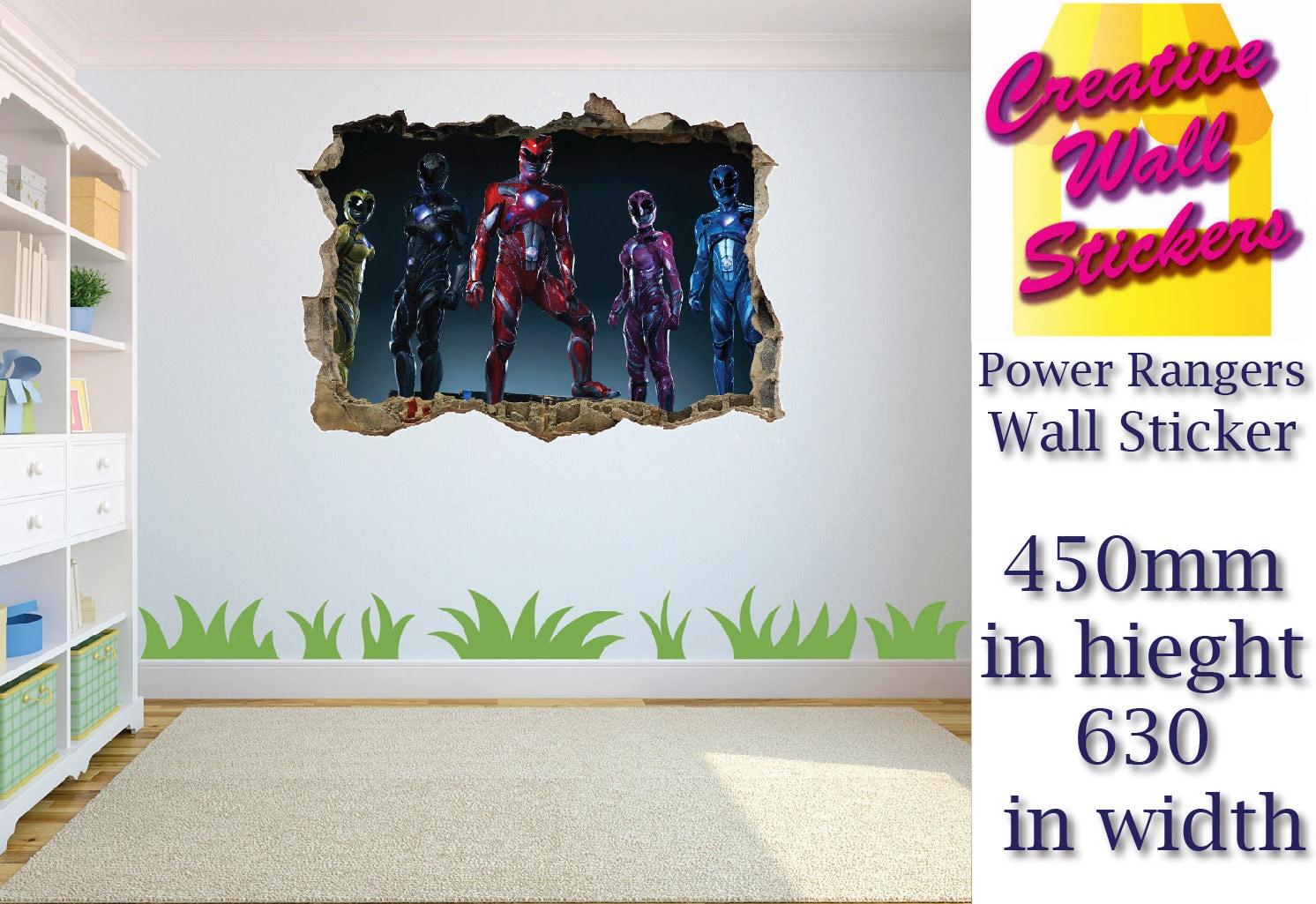 Power Rangers Wall Sticker Kids Bedroom Hole In Wall Effect Etsy