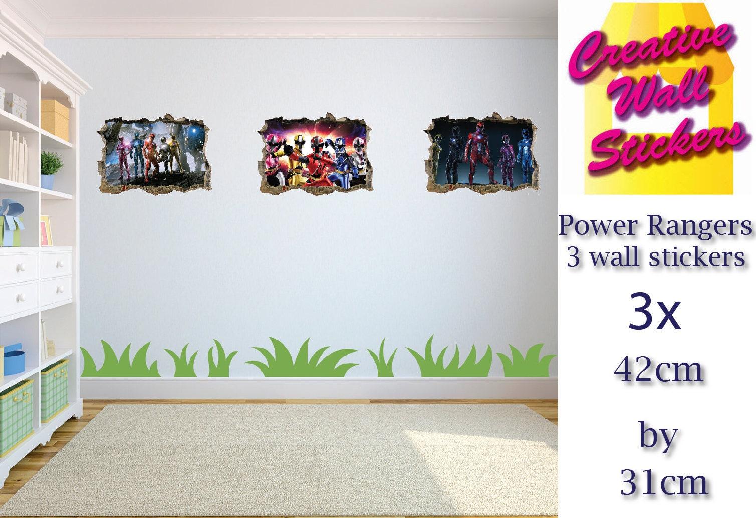 Power Rangers Wall Art Sticker 3 X Childrens Bedroom Etsy