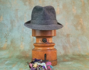 2a84de0020a21 Vintage Borsalino fedora. Dark gray hat. Never used from 80s. Size 56. US 7.