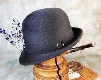 5fefcfabb9d Gray hat. Gift for artists. Felt hat. New vintage hat. Formal hat. 1970s.  Fancy men hat. 59 cm hat. Classic bowler hat.