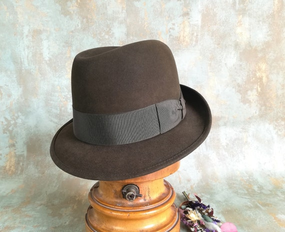 Green vintage fedora. Panizza hat. High quality vi