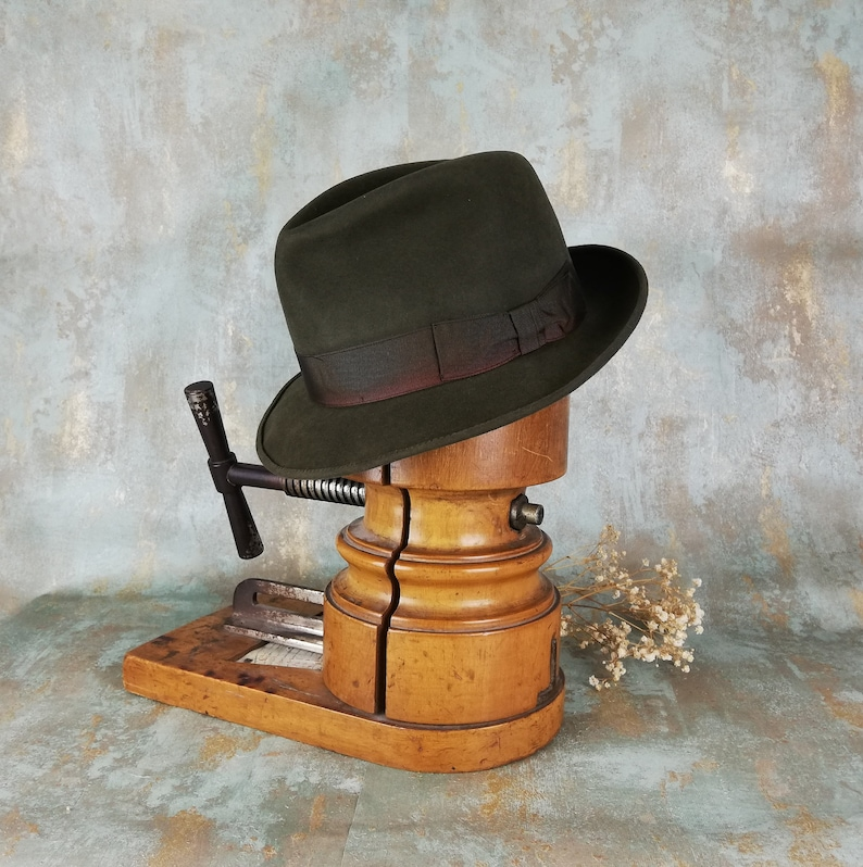 4ed1a35eb971a Vintage fedora. Barbisio. Men hat. Green hat. Fur felt hat.