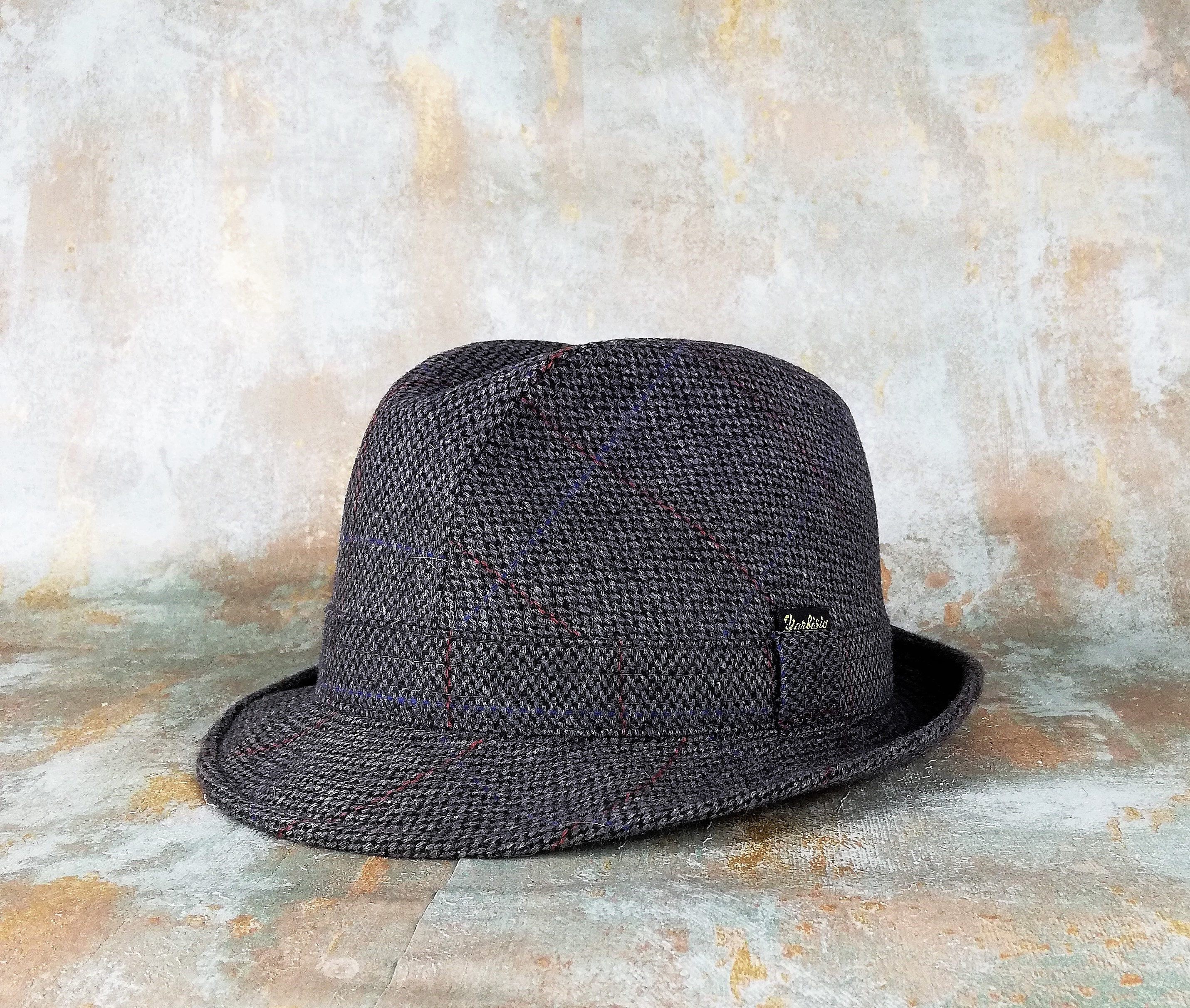 cfd287d2b7ea8 Vintage Hat. Tweed Blue-Gray. Hats for men. Retro style.
