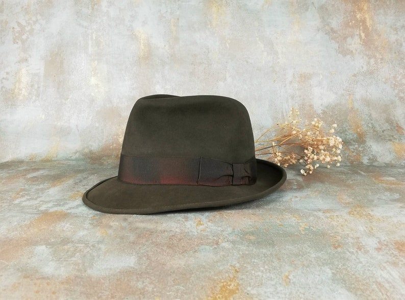 e295518b6bc Vintage fedora. Barbisio. Men hat. Green hat. Fur felt hat.