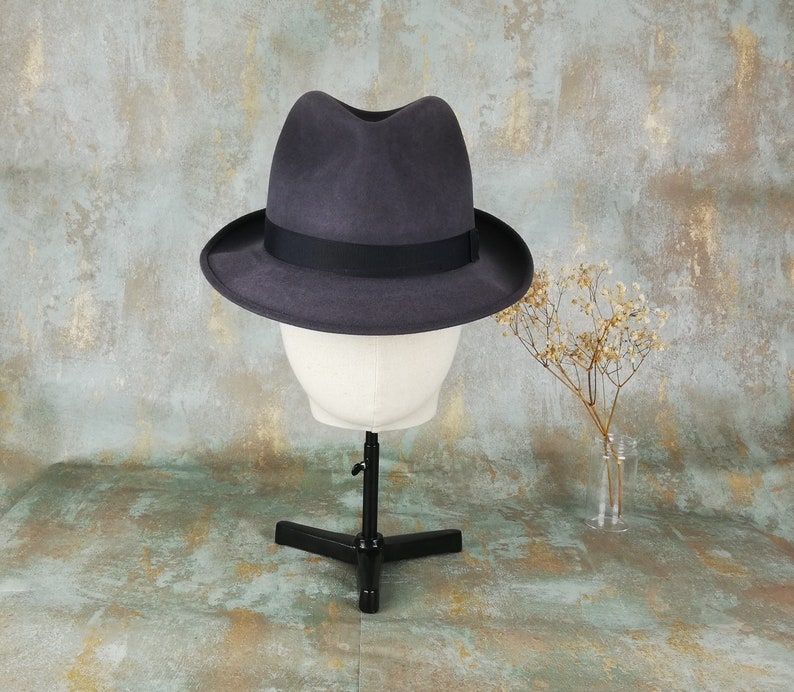 84396973d9ba4 Fedora . Original grey fur felt hat. Barbisio. Dark gray.