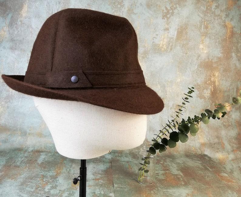 c33b4afe2be99 Jazz hat. Mr Carefree brown trilby hat. Gift for him. Vintage