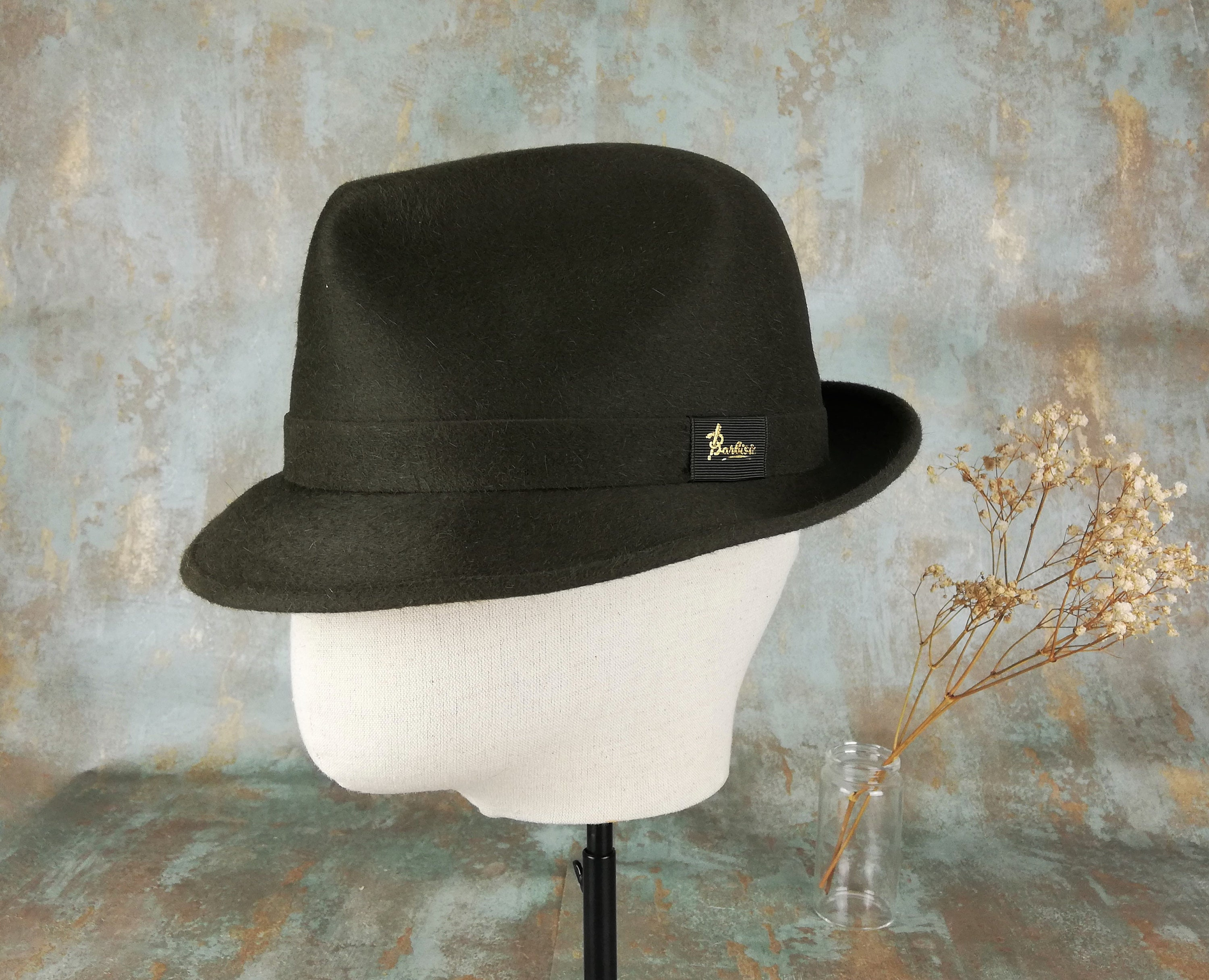 41abaca914d49 Italian Hat. Waterproof hat. Dark green. Barbisio trilby.