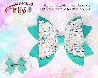 Unicorn/Flowers Double Layer Faux Leather Hair Bows