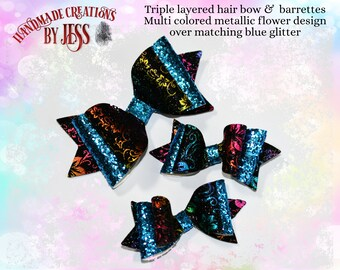 Triple Layer Faux Leather Hair Bow/Barrette